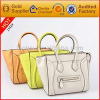 Top grade leather ladies bags smile face tote handbag mk handbags