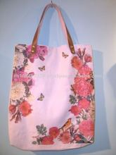Red flower print canvas bags with leather handle