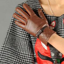 Stock new fashion cheap brown PU leather women gloves P-EW002