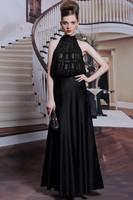 Celebrity Inspired Floor Length Jewel Neckline Black Prom Dresses