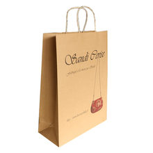 recyclable custom made brown paper bag twist paper handles