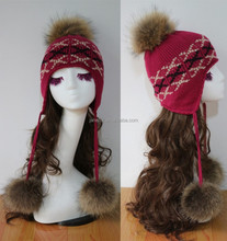 2015 NEW style lovely girls Autumn Winter warm hats/ Lovely fur pompons hats caps