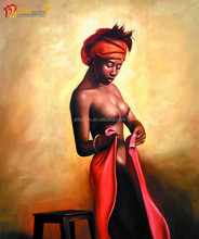 Wall art decoration canvas print nude african woman body painting