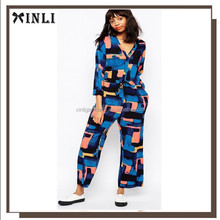Fashion Ladies Long Sleeve V-Neck Monki 90's Retro Print Wide Leg Adult Jumpsuit