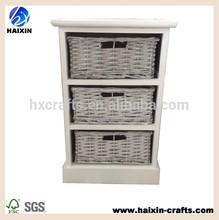 muebles rústicos de madera blanca del gabinete con cajones cesta