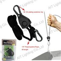 """adjustable refleoctor rope ratchet light hanger with 1/4"""" 150LBS 6ft rope for indoor garden plant growing"""