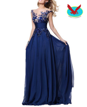 Lace Long Prom Dresses 2015 Chiffon Formal Evening Gown ladies dress