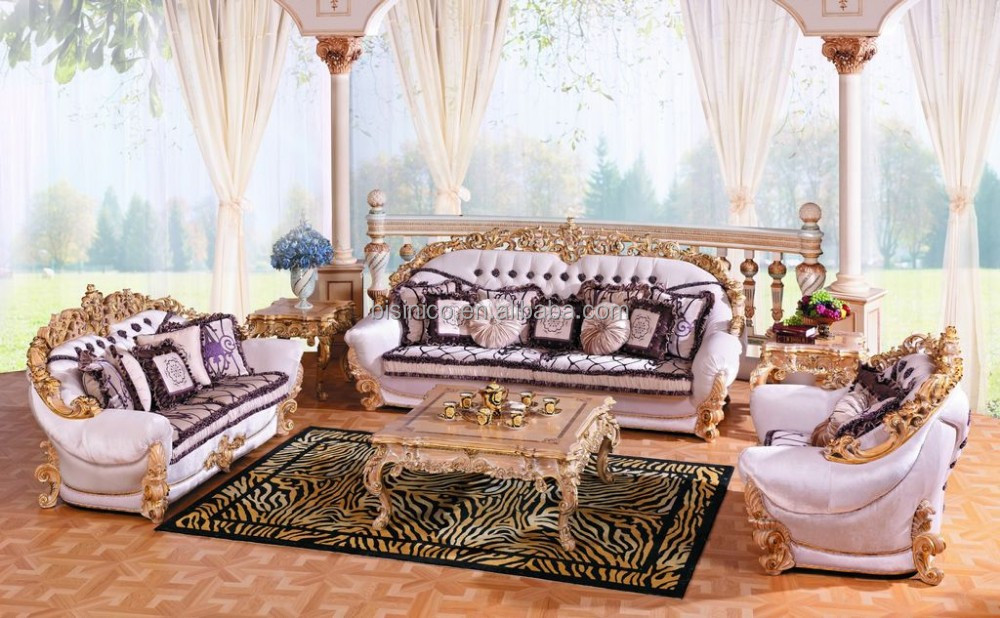 Luxury french baroque collection royal living room furniture exquisite wooden hand carved - Add luxurious look home royal sofa living room ...