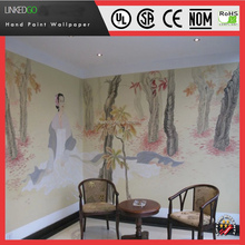 Custom restaurant wall decoration with designs Chinese landscape wallpaper