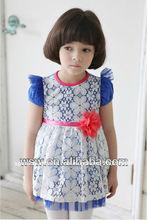 2014 amarillo/mosca azul manga neto velo de venta al por mayor de ropa infantil de encaje vestido de niña vestido de flores