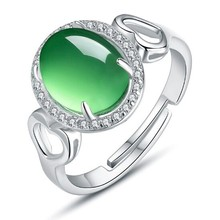 925 Sterling Silver Jewelry Wholesale Korea Fashion Emerald Stone Ring 925 Silver Ring J-0003