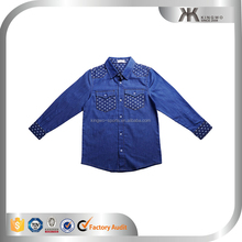 Children wear spring quarter printed denim shirts