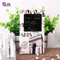romantic leather flip case for samsung galaxy note 3 with window and sleep function