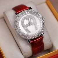 Elegant external with natural shell ladies watch