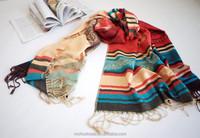 2015 hot OEM Fashion national wind scarf shawl feel silky scarves color stripe The scarf