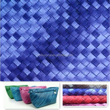 Fashionable Woven pattern artificial PVC synthetic leather for making lady bags