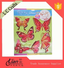 2015 hot new products pvc red 3d butterfly wall sticker printing for home decoration
