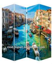 2013 Promotional stretched waterproof flower canvas screen, room dividers, paravent