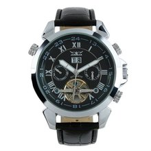 Jargar Men Gent Black Tourbillon Date Aviator Automatic Mechanical Watch WM181