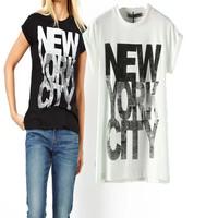 Wholesale 100%cotton good price printed New York City black sexy women long loose shirt