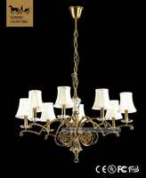 Antique Baroque 8 Lights New Spanish Antique Bronze Bedroom Lampshade Copper led battery operated Pendant light