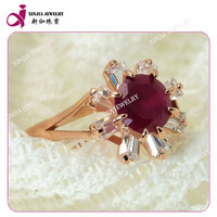 5# ruby and ladder square inlay plating rose gold wedding ring