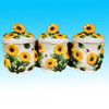 hot sale yellow painted sunflower canister set for sale