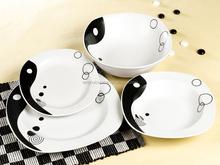 Th4031 placa de jantar quadrado e prato jantar tigela de cerâmica porcelana preto e cor branca