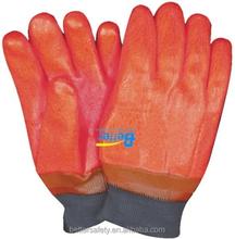 Black Knit Wrist Foam & Interlock Lined Red PVC Safety Glove Direct Buy China
