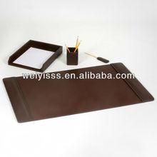 Chocolate Brown Leather 4 Piece Desk Set