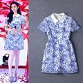 نوعية جديدة عالية نمط اللباس أزياء الصيف النساء ذوي الياقات بيتر بان 2015 قصيرة الأكمام ثوب خمر نمط الخزف الازرق الابيض