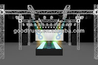 Glass podium stage with aluminum truss