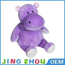OEM Custom lovely purple stuffed animal hippo, plush hippo for christmas