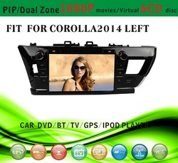 car dvd gps providers fit for Toyota corolla 2014 left hand drive with radio bluetooth gps tv pip dual zone