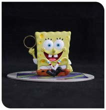 Venta al por mayor SpongeBob resina fantasy figura, miniatura de resina figura de la historieta SpongBob llavero