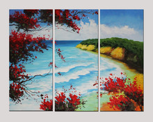 Alibaba Gold Supplier Wholesale High Quality 3 Pieces Handmade Abstract Modern Landscape Tree And Flower Oil Painting On Canvas