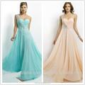 quente da venda de um ombro sweetheart andar de comprimento chiffon luxo cristal frisado vestido de baile