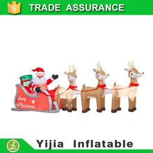 inflatable home decorations /air blown pop up 3.5m L x 0.9 H inflatable Christmas santa deer /christmas inflatables