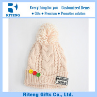 Export blank cotton knitted beanie hat with tassel