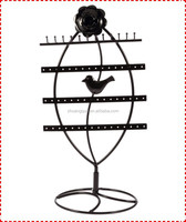 Black Rose flower decoration metal jewelry stand with bird