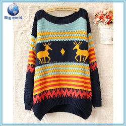 Women sweaters 2015 new fashion design sweater, loose, casual pattern with deer, and Christmas sweater pullover