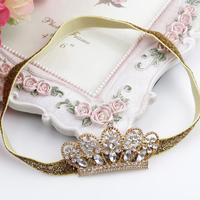 Fashion crystal rhinestone newborn girls tiara crown hair band infant hair accessories top baby headband wholesale