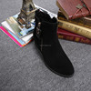 Suede leather women boot Winter ankle shoes warm snow velvet fur work flats martin cowboy motorcycle male shoe lace-up