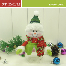 hot sale unique seasonal decorative plactic christmas snowman candy jar