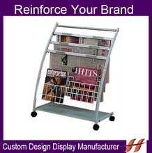 Free Standing Metal Wire Newspaper Display Stand/ OEM accepted