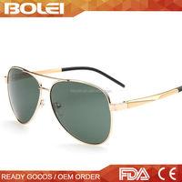 2015 gold fashionable wholesale pilot metal polarized custom logo sunglasses