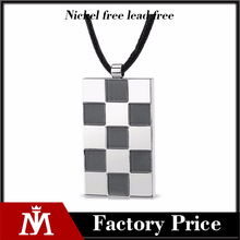 Europe vintage two tone big pendant necklace mens square charm jewelry