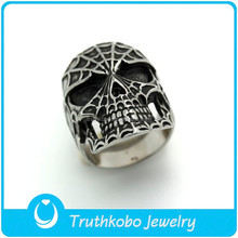 F-R0116 Party Occasion Men's Stainless Steel Silver Vintage Biker Fire Skull Ring