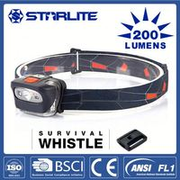 STARLITE IPX5 Weather Proof Push Button 1000cd led mini water resistant 3 led outdoor head light