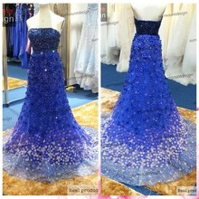 New Luxury Off Shoulder Floor Length Royal Blue Heavy Beaded Elie Saab alibaba china summer dresses